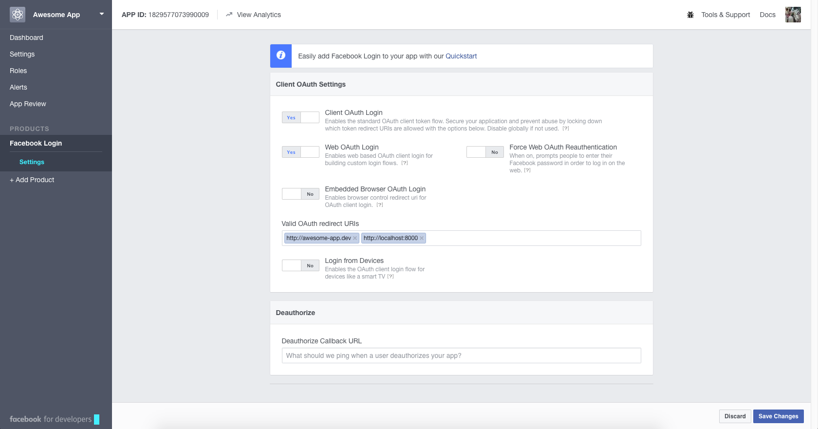 Making apps for social login with Facebook and Google