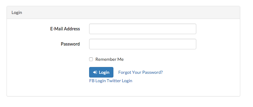 Logi page with twitter option